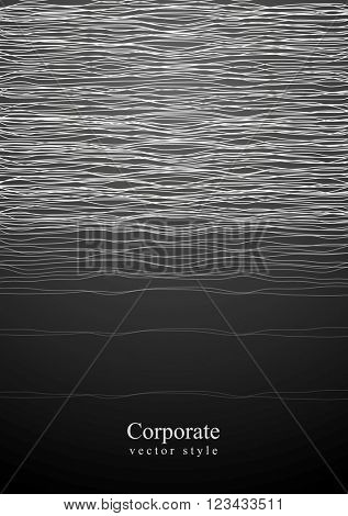 Abstract white curved lines on black background. Vector minimal concept graphic design