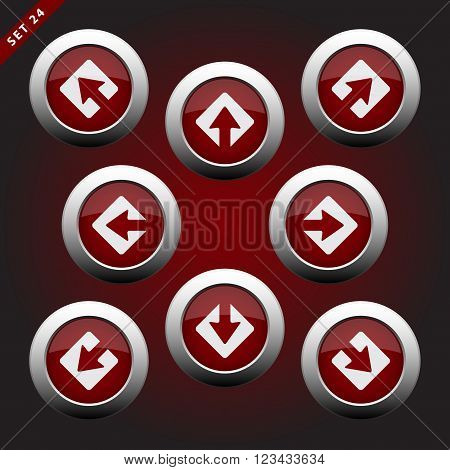 purple white icons - arrows in eight directions on a violet background