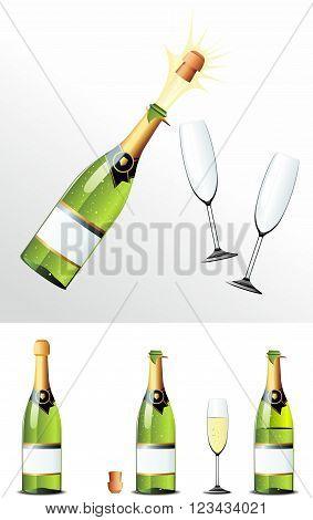 Champagne Bottle cork and glasses. Vector illusration