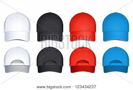 Vector caps, isolated on white background. Back and front view