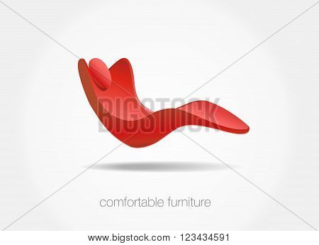 comfortable furniture concept. Red chair isolated on white background