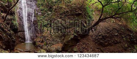 The rugged terrain of the Dajin waterfall in southern Taiwan