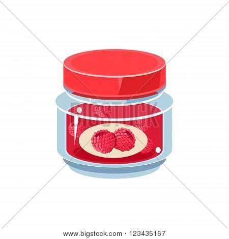 Raspberry Jam In Transparent Jar Isolated Flat Vector Icon On White Backgroung In Simplified Manner