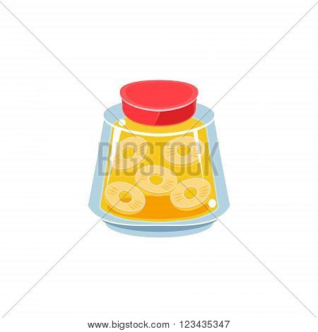Pinapple Jam  In Transparent Jar Isolated Flat Vector Icon On White Backgroung In Simplified Manner