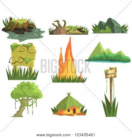 Jungle Landscape Elements  Realistic Flat Vector Illustration Set For Video Game On White Background
