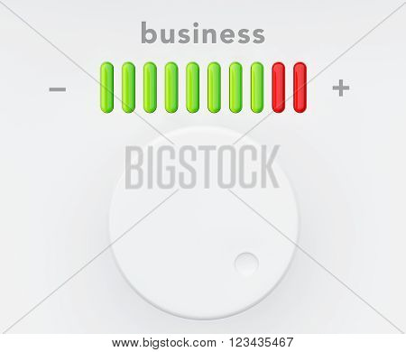 Control Knob with Business Progress Scale extreme closeup. 3d Rendering