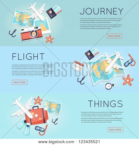 Travel to World. Trip plan. Planning a summer vacation, tourism and journey. Summer travel. Map and a set of things for travel top view. Hop on a plane. Flat vector web banners.
