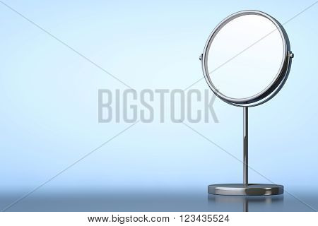 Chrome Makeup Mirror on a blue background. 3d Rendering