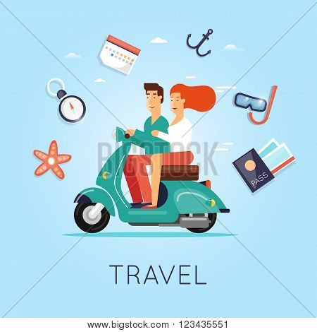 Man and woman traveling on a moped. Summer, World Travel, summer vacation, tourism and journey, couple travels. Flat design vector illustration.