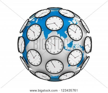 International Time Zones Concept. Modern Clocks around the Earth Globe World on a white background. 3d Rendering