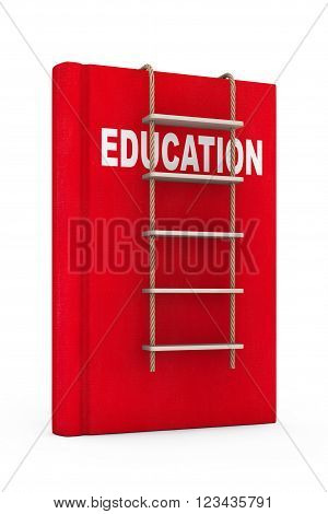 Education Book with Rope Ladder on a white background. 3d Rendering