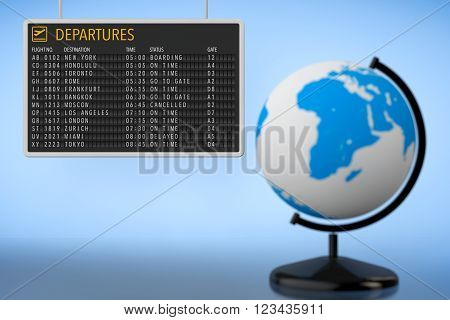 World Travel Concept. Airport Departures Board with Earth Globe. 3d Rendering