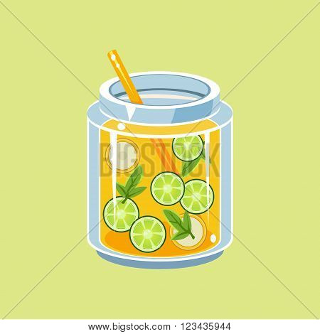 Jar Of Lemonade With Straw Isolted Flat Vector Item On Light Yellow Background