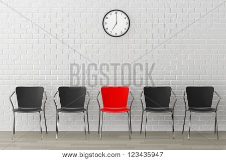 Red Chair with Another Black against white brick wall with Modern Clock. 3d Rendering