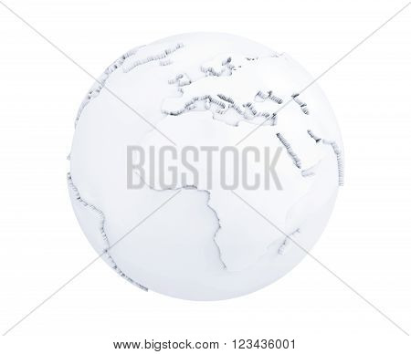 White and Blank Earth Planet Globe on a white background. 3d Rendering