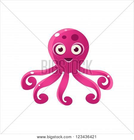 Fuchsia Octopus Character Isolated Flat Childish Colorful Vector Icon On White Background