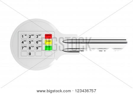 Key with Digital Keypad on a white background