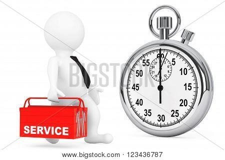 Fast Service Concept. 3d Person with Red Toolbox and Stopwatch on a white background
