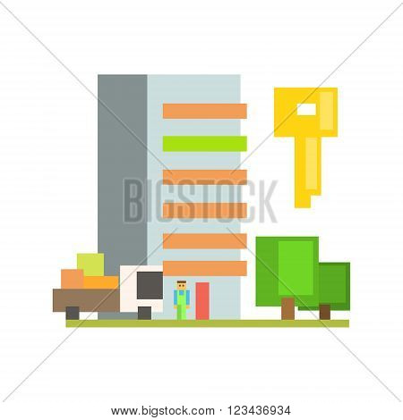 Outdoors With Moving Truck, Buiding  And Key  8-bit Abstract Primitive Flat Vector Illustration On White Background