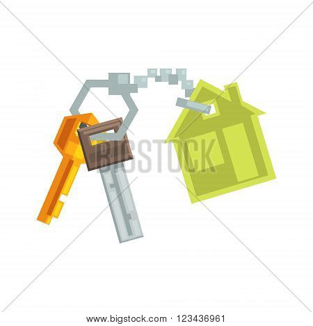 Keys on Key Ring In Shape Of A House  8-bit Abstract Primitive Flat Vector Illustration On White Background