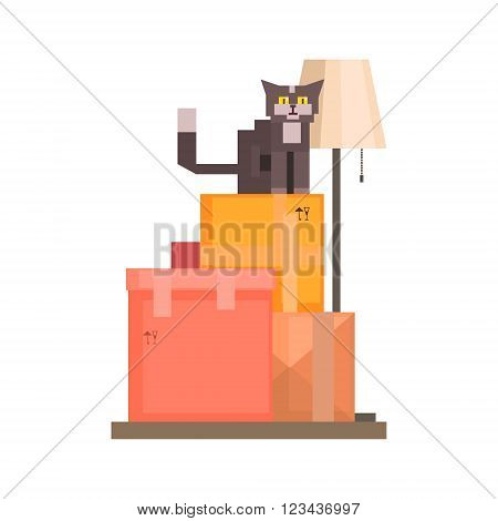 Cat Sitting On Boxes  8-bit Abstract Primitive Flat Vector Illustration On White Background