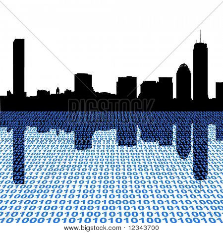 Boston skyline with binary perspective illustration