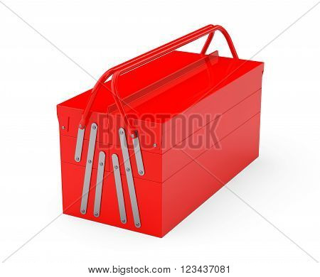 Red Metal Toolbox on a white background. 3d Rendering
