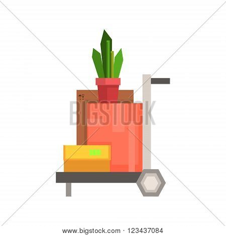 Trolley Loaded With Boxea And Plant  8-bit Abstract Primitive Flat Vector Illustration On White Background