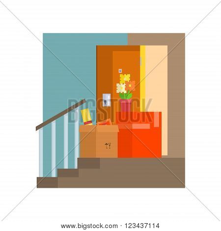 Staircase With Half Painted Wall And Boxes  8-bit Abstract Primitive Flat Vector Illustration On White Background