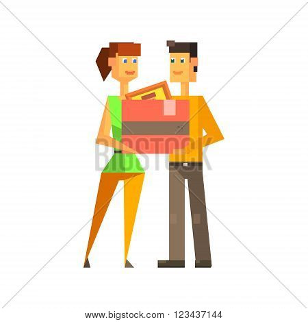 Couple Holding The Box Together 8-bit Abstract Primitive Flat Vector Illustration On White Background