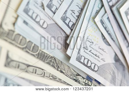 One hundred US dollars banknotes. Close-up view