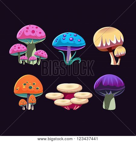 Fantastic Mushrooms Colorful Creative Flat Vector Design Collection Of Isolated Icon On Black Background