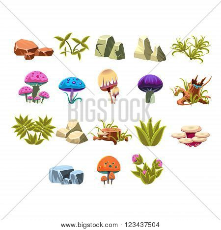 Video Game Lanscaping Flat Vector Design Icons Set Of Isolated Items on White Background