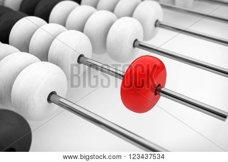 Success concept. Abacus with red bead extreme closeup. 3d Rendering