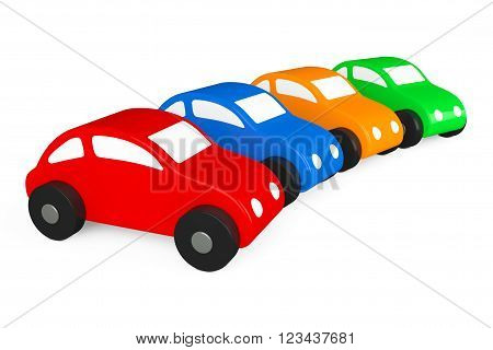 Multicolour Cartoon Toy Cars on a white background. 3d rendering