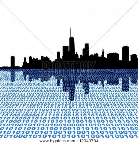 Chicago skyline with binary perspective foreground