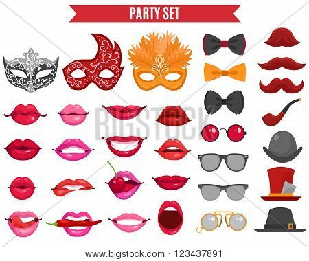 Funny party icons set of mask for masquerade fake mustache tie butterfly and women lips  in retro style flat isolated vector illustration