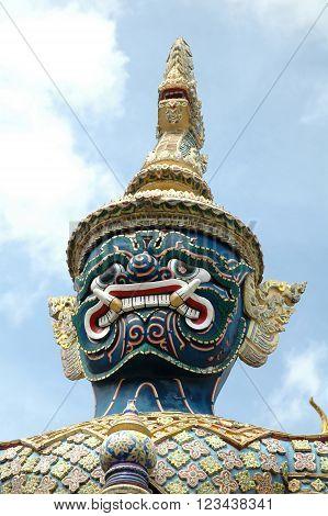 Mythical giant figure, Grand Palace, Bangkok, Thailand.