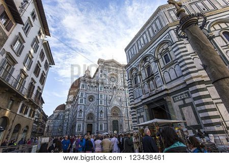 FLORENCE, ITALY, OCTOBER 24, 2015 : exteriors and architectural details of cathedral Santa Maria del fiore, october 24, 2015 in Florence, Italy
