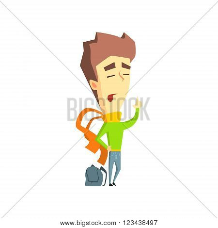 Arrogant Boy Flat Vector Emotion Illustration In Graphic Style Isolated On White Background