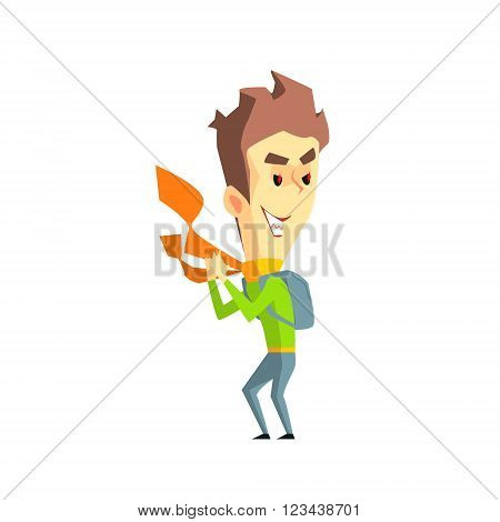 Mischievous Boy  Flat Vector Emotion Illustration In Graphic Style Isolated On White Background