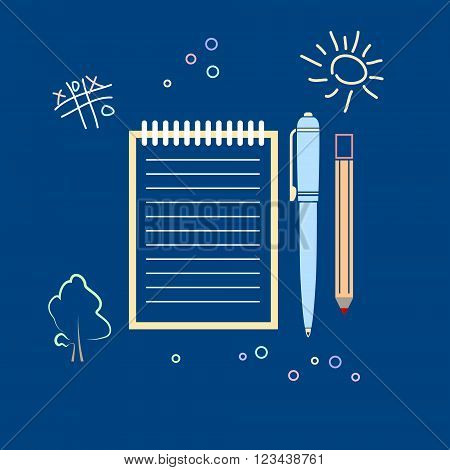 Notebook with the Pen and a Pencil, Vector Illustration