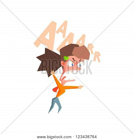Infuriated Girl Flat Vector Emotion Illustration In Graphic Style Isolated On White Background