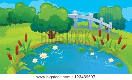 Vector cartoon country background of pond and shrub