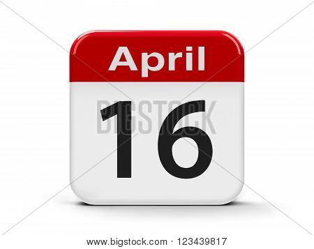 Calendar web button - Sixteenth of April three-dimensional rendering, 3d illustration