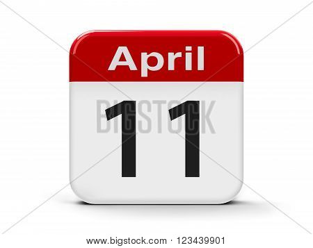 Calendar web button - Eleventh of April - World Parkinson's Day and International Day of Fascist Concentration Camps Prisoners Liberation three-dimensional rendering, 3d illustration