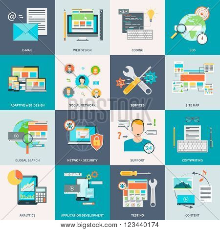 Set of stylish concept icons showing the website development process vector illustration