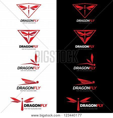 Red Dragonfly logo vector set art design