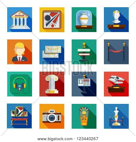 Museum flat squared icon set with colorful shadowed flat elements of museum equipment exhibit and announcement vector illustration