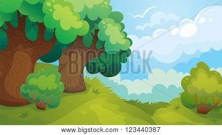 Vector cartoon game landscape of forest glade